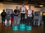 Le trio de gagnants : Damian Schmid (2e) et les Autrichiens René Grubelnig (1er) et Markus Hirner (3e).
